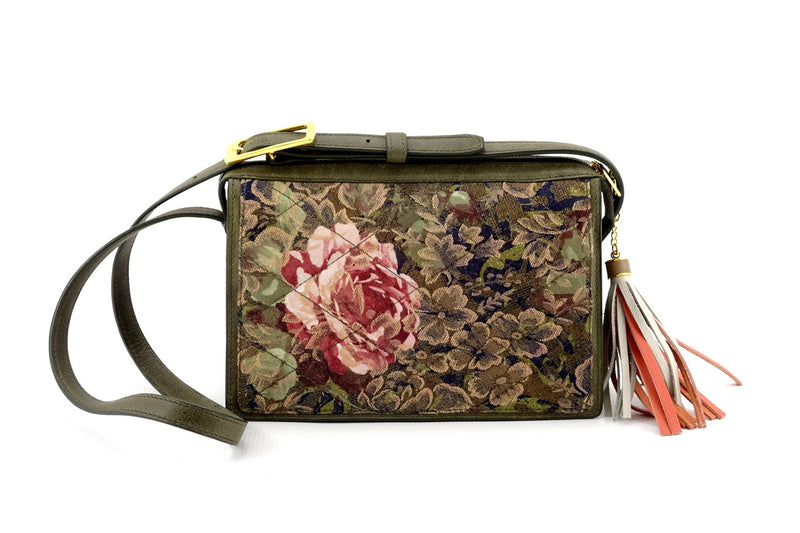 Riley Cross body bag rose printed fabric quilted in greens & pinks view 1