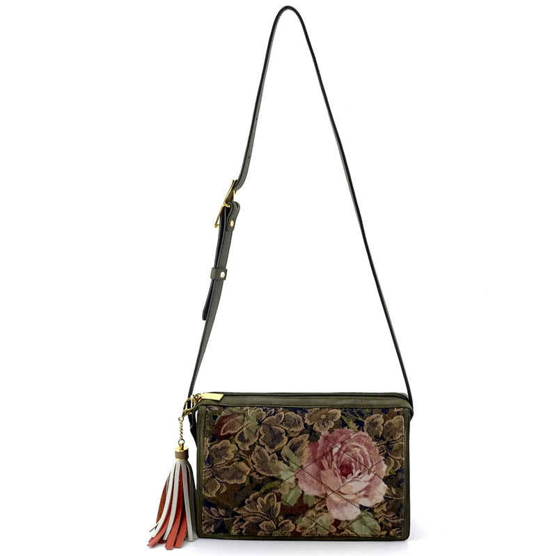 Riley Cross body bag rose printed fabric quilted in greens & pinks shoulder strap