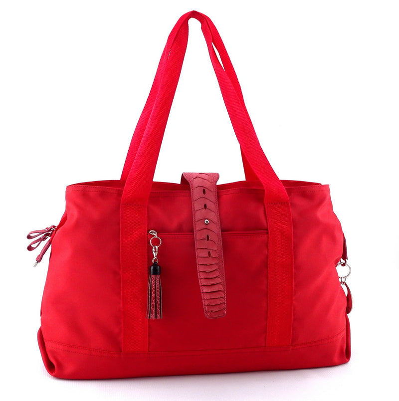 Felicity  Red nylon rojo ostrich leg leather & tassel large tote bag front handles up
