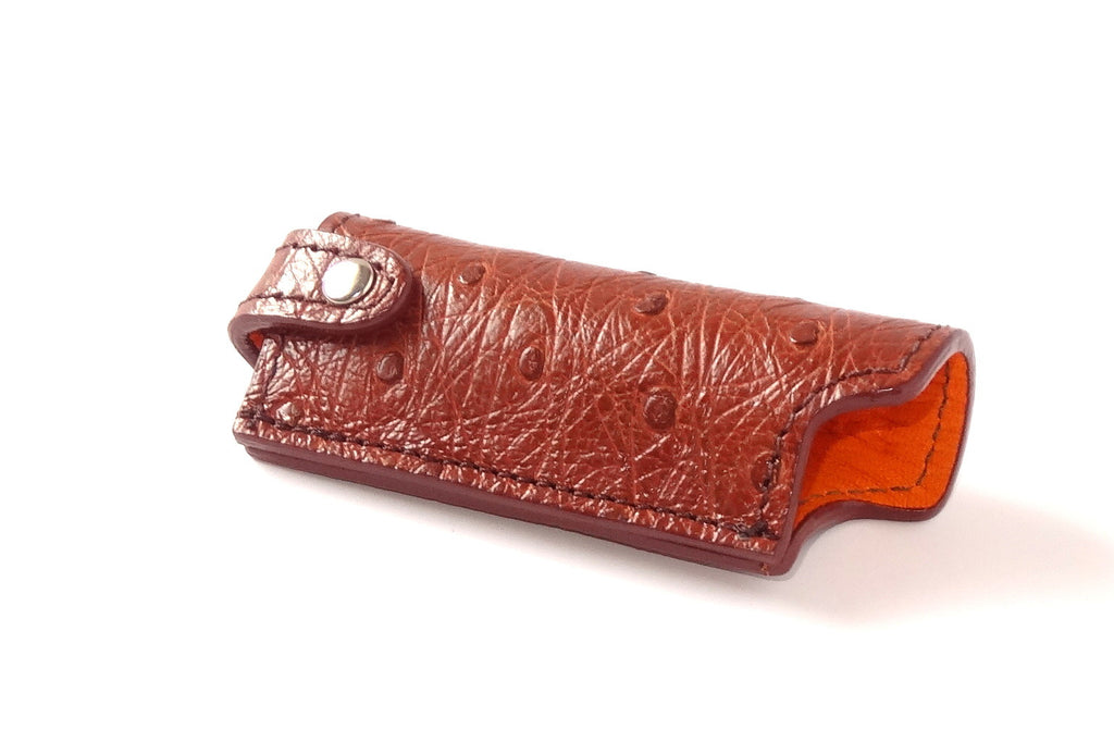 Lighter cover Ostrich skin leather