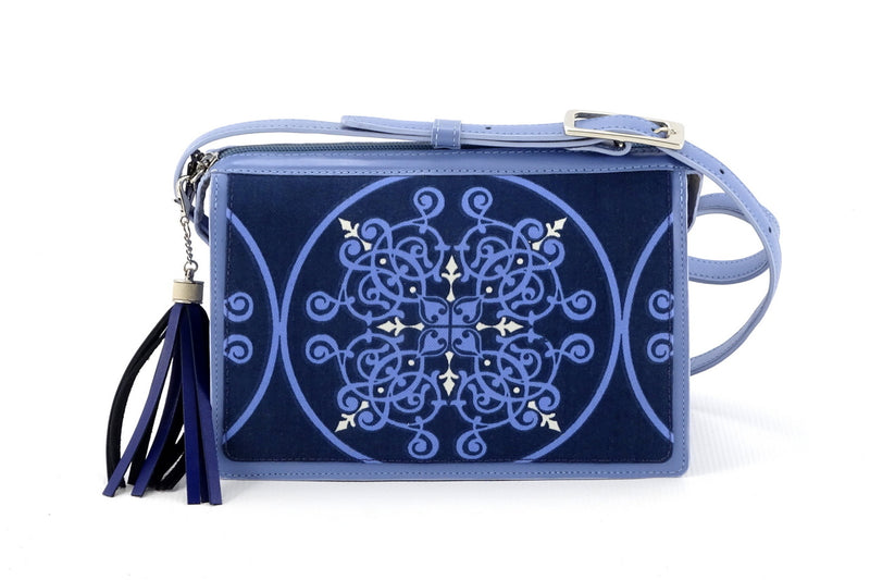 Riley Cross body bag denim fabric & astral blue leather view 2