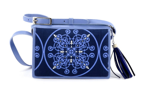 Riley Cross body bag denim fabric & astral blue leather view 1
