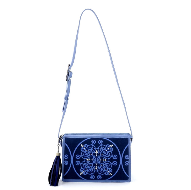 Riley Cross body bag denim fabric & astral blue leather shoulder strap extension