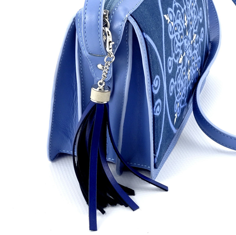 Riley Cross body bag denim fabric & astral blue leather tassel