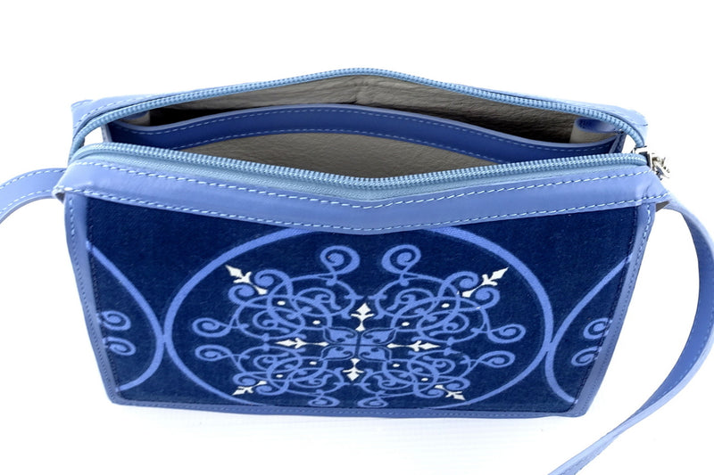 Riley Cross body bag denim fabric & astral blue leather internal pocket top strip