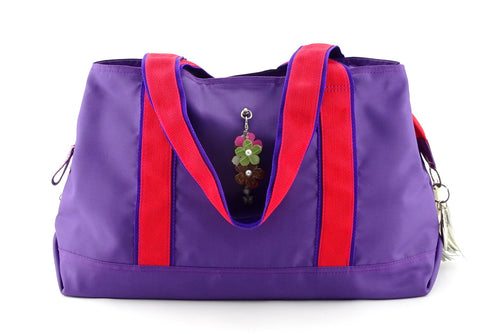 Felicity  Purple nylon exotic flower detail large tote bag front handles down