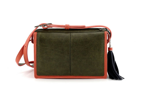 Riley Cross body bag Olive green & peach leather view side 2