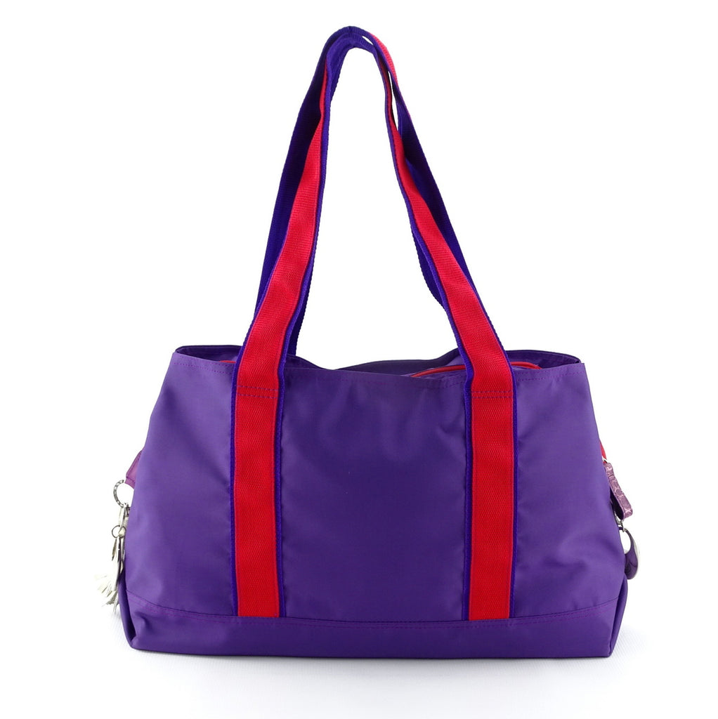 Felicity  Purple nylon exotic flower detail large tote bag back handles up