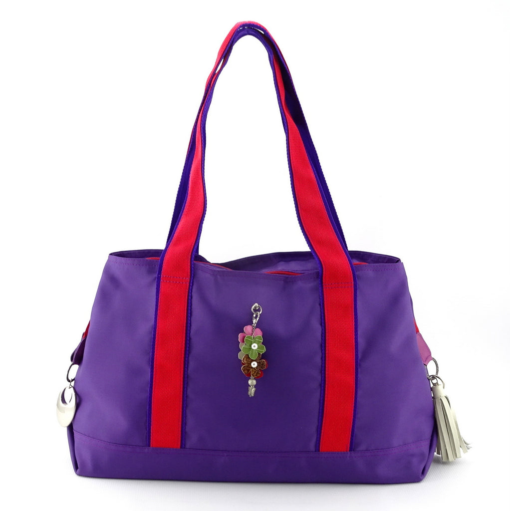 Felicity  Purple nylon exotic flower detail large tote bag handles up