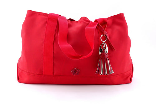 Felicity  Red nylon with large tassel large tote bag front handles down