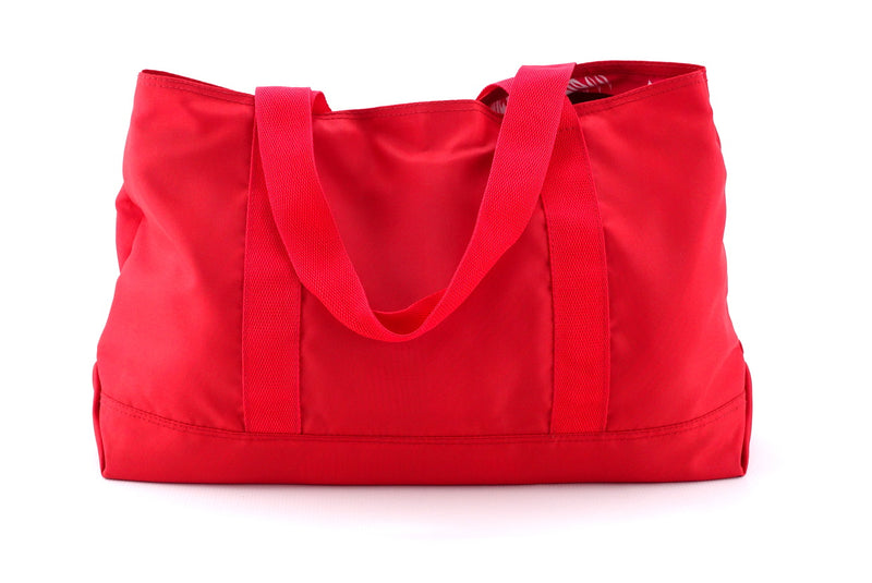 Felicity  Red nylon with large tassel large tote bag back handles down