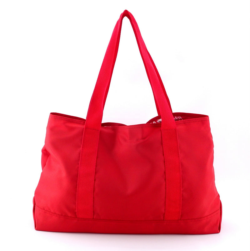 Felicity  Red nylon with large tassel large tote bag back handles up