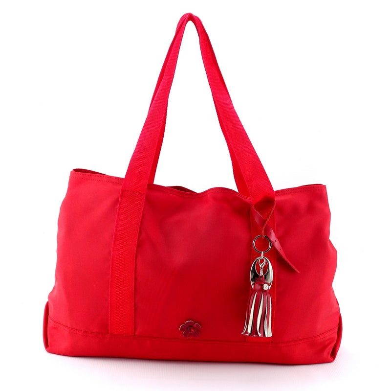 Felicity  Red nylon with large tassel large tote bag front handles up