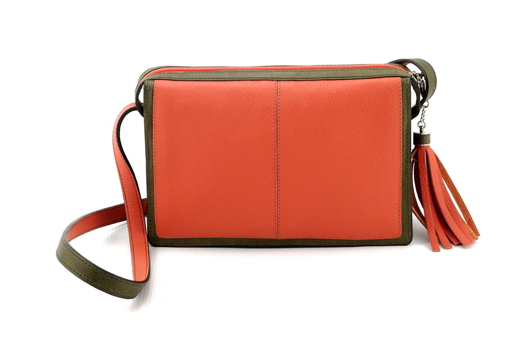 Riley Cross body bag Peach & olive green leather view side 2