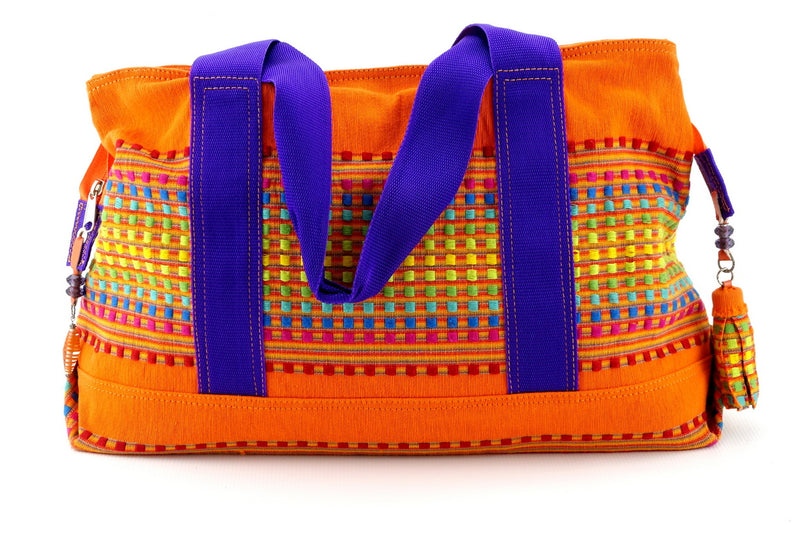 Felicity  Orange woven cotton fabric large tote bag handles down