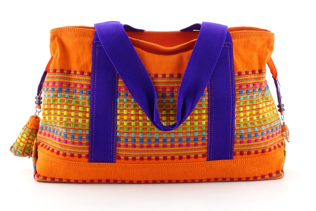 Felicity  Orange woven cotton fabric large tote bag side 2 handles down
