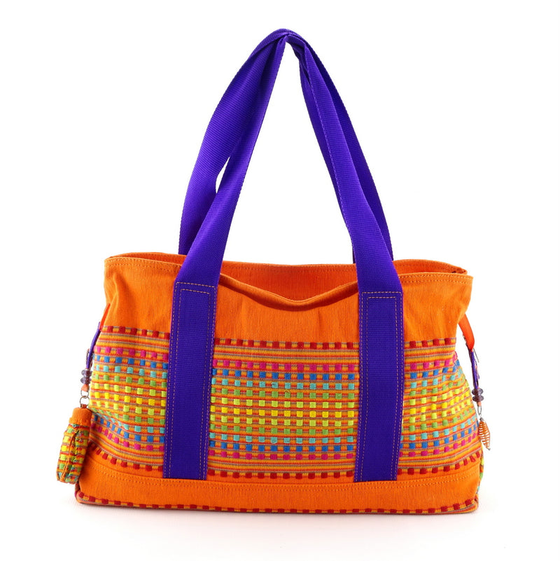 Felicity  Orange woven cotton fabric large tote bag side 2 handles up