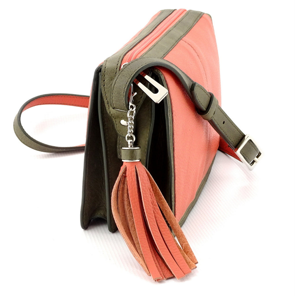 Riley Cross body bag Peach & olive green leather view end 1