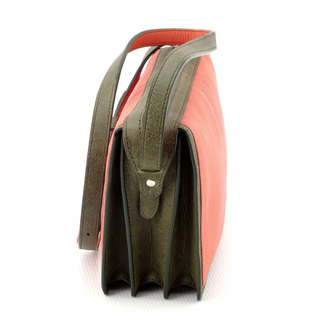 Riley Cross body bag Peach & olive green leather view end 2
