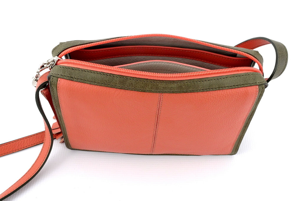 Riley Cross body bag Peach & olive green leather inside pocket feature top strip