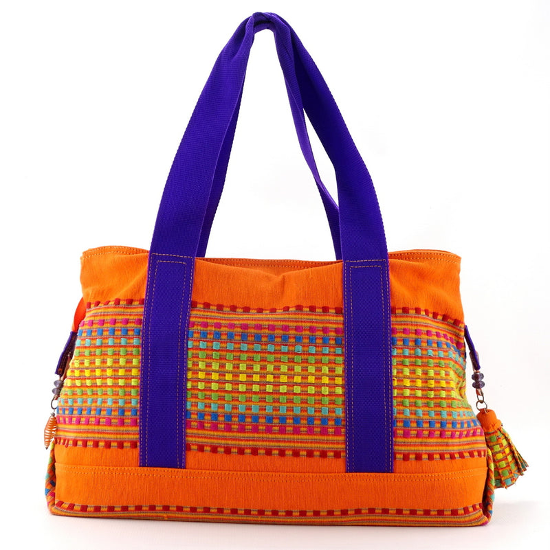 Felicity  Orange woven cotton fabric large tote bag handles up