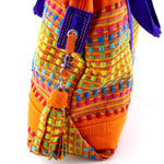 Felicity  Orange woven cotton fabric large tote bag zip end tassel