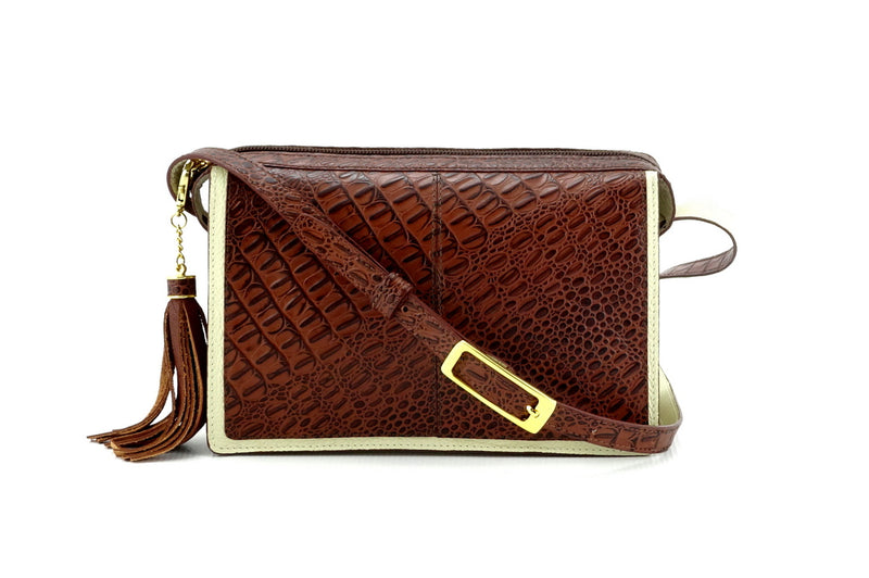 Riley Cross body bag cream with brown corocodile printed leather view side 2