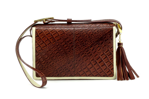 Riley Cross body bag cream with brown corocodile printed leather view side 1