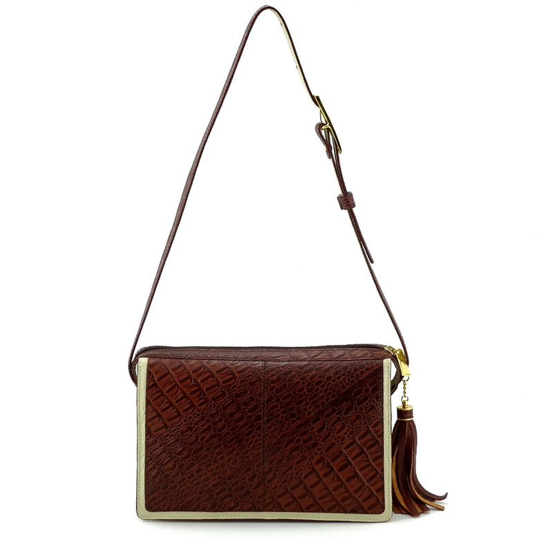 Riley Cross body bag cream with brown corocodile printed leather