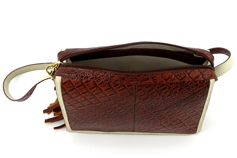 Riley Cross body bag cream with brown corocodile printed leather inside pocket top strip