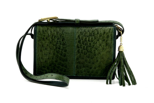 Riley Cross body bag olive green ostrich & forest green leather view side 1