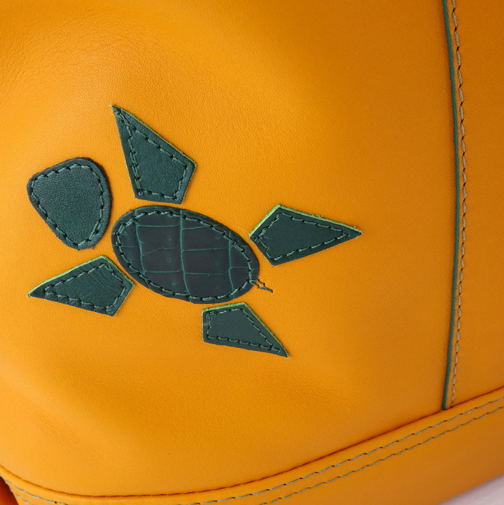Felicity  Mango leather green ostrich leg & turtle detail large tote bag turtle detail