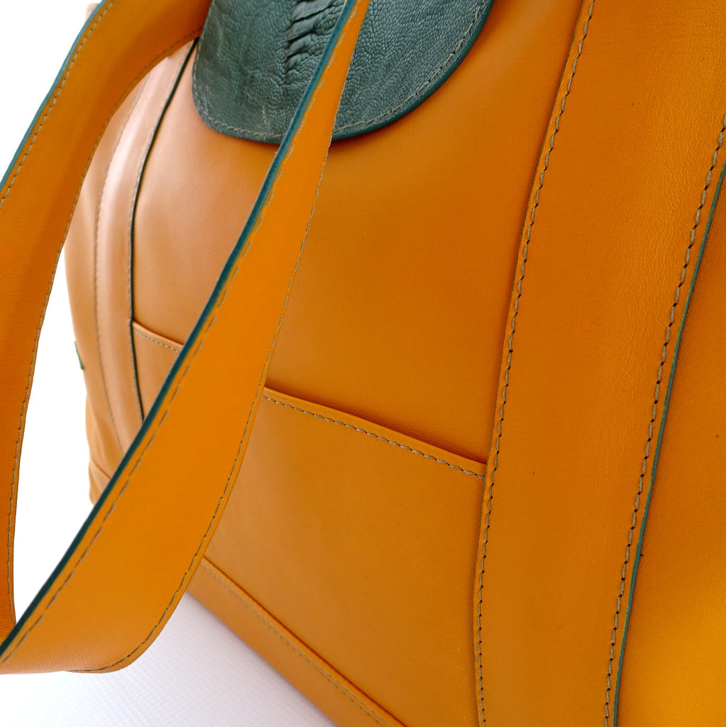 Felicity  Mango leather green ostrich leg & turtle detail large tote bag edging details