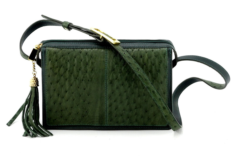 Riley Cross body bag olive green ostrich & forest green leather view side 2