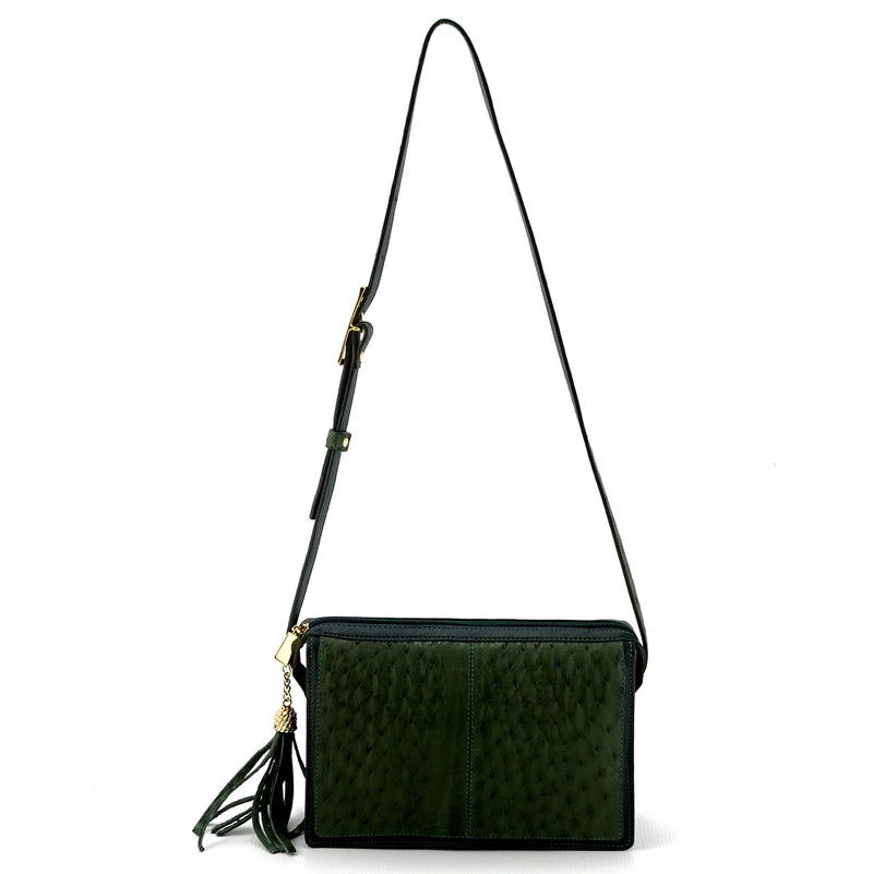 Riley Cross body bag olive green ostrich & forest green leather showing shoulder straps extension