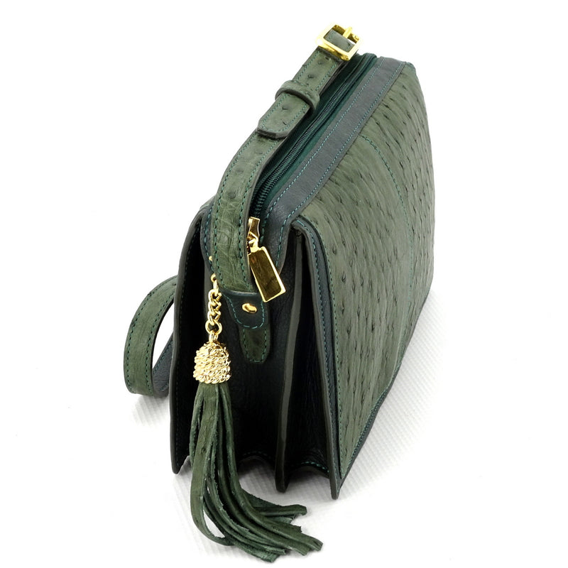 Riley Cross body bag olive green ostrich & forest green leather view end 1