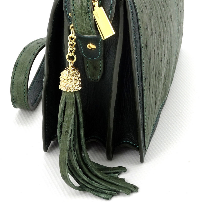 Riley Cross body bag olive green ostrich & forest green leather tassel view