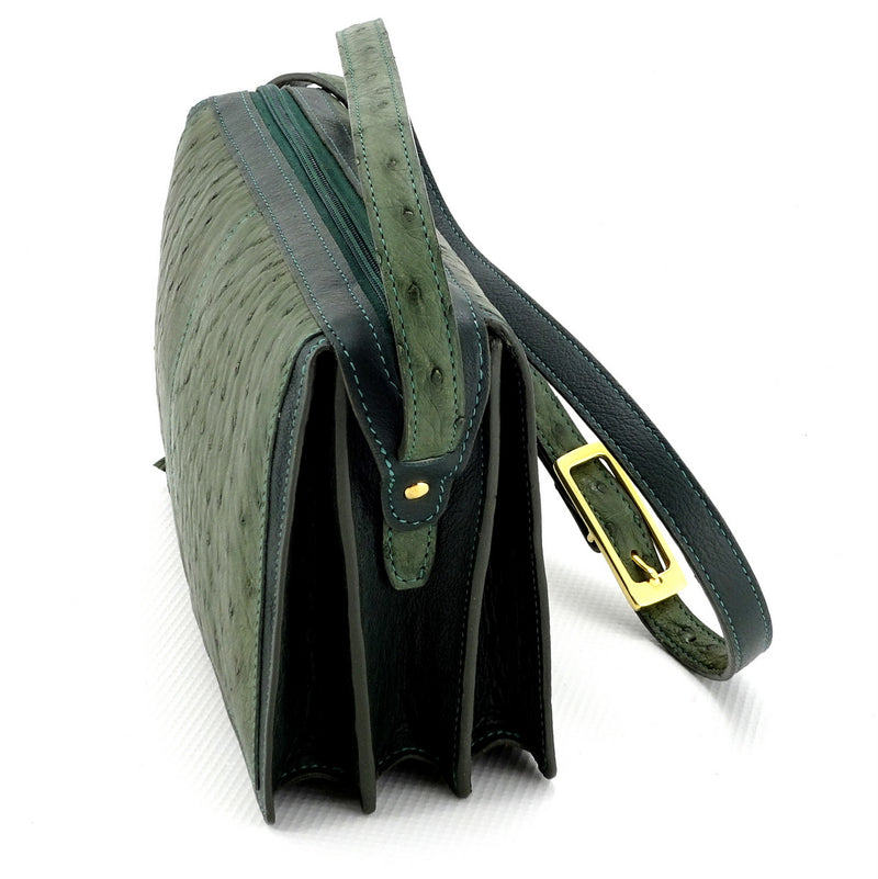 Riley Cross body bag olive green ostrich & forest green leather view end 2