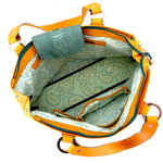 Felicity  Mango leather green ostrich leg & turtle detail large tote bag inside pockets