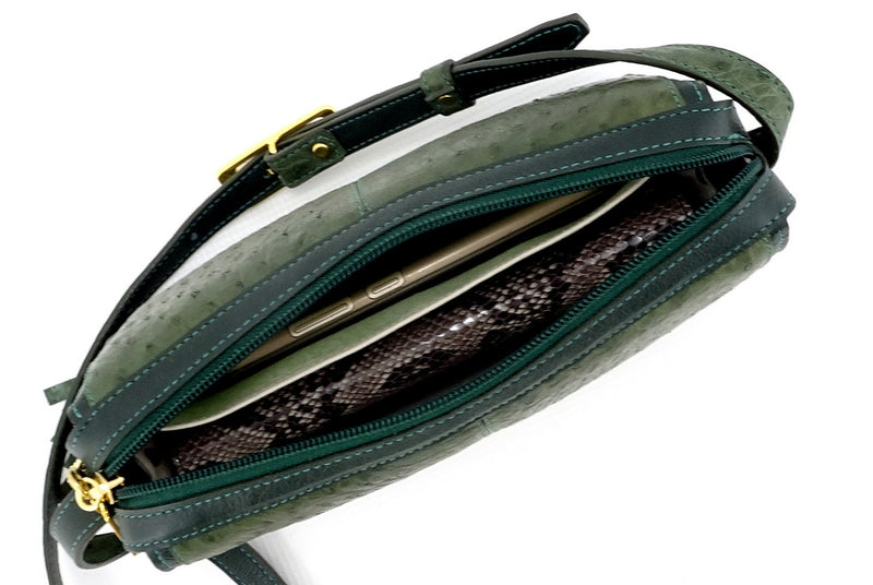 Riley Cross body bag olive green ostrich & forest green leather top view