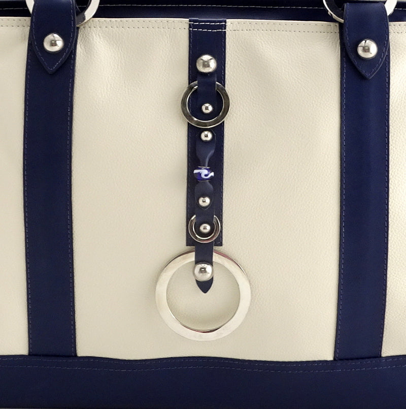 Felicity  Navy blue kangaroo cream leather stud detail large tote bag front bead and ring detail