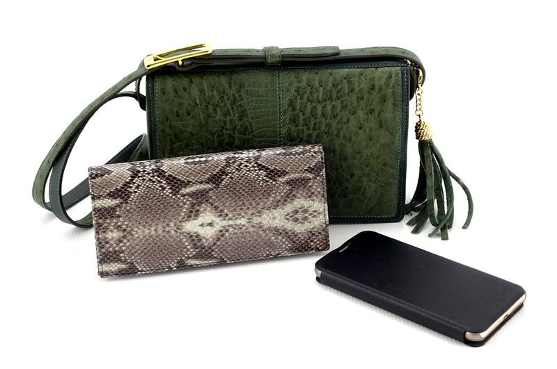 Riley Cross body bag olive green ostrich & forest green leather with Caitlin & smart phone