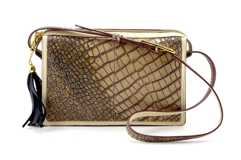 Riley Cross body bag off white with grey crocodile printed leather view side 2