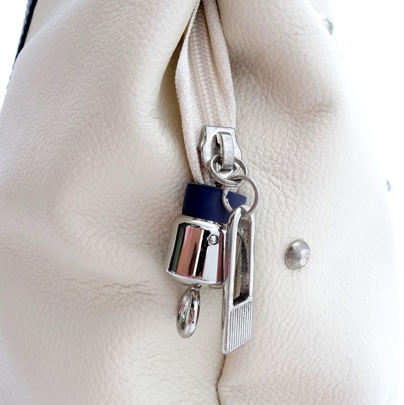 Felicity  Navy blue kangaroo cream leather stud detail large tote bag zip end detail