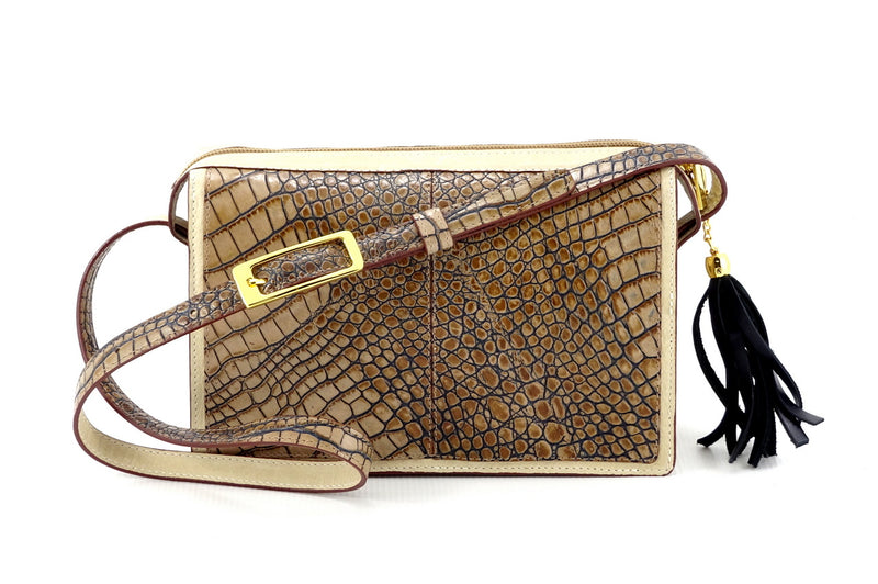 Riley Cross body bag off white with grey crocodile printed leather view side 1