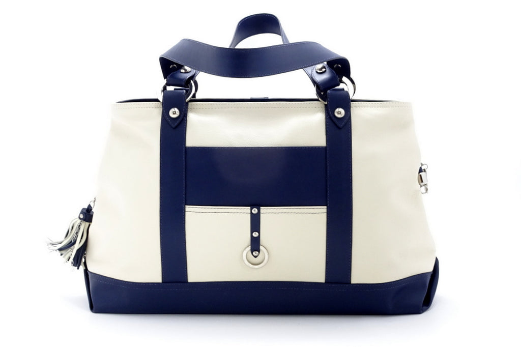 Felicity  Navy blue kangaroo cream leather stud detail large tote bag back handles down