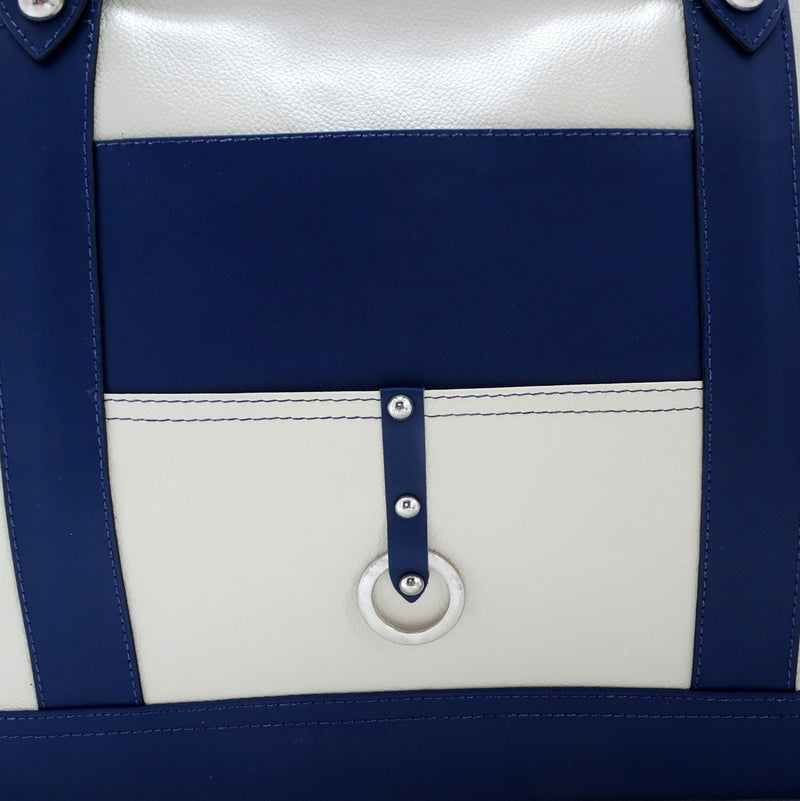 Felicity  Navy blue kangaroo cream leather stud detail large tote bag back stud and ring detail