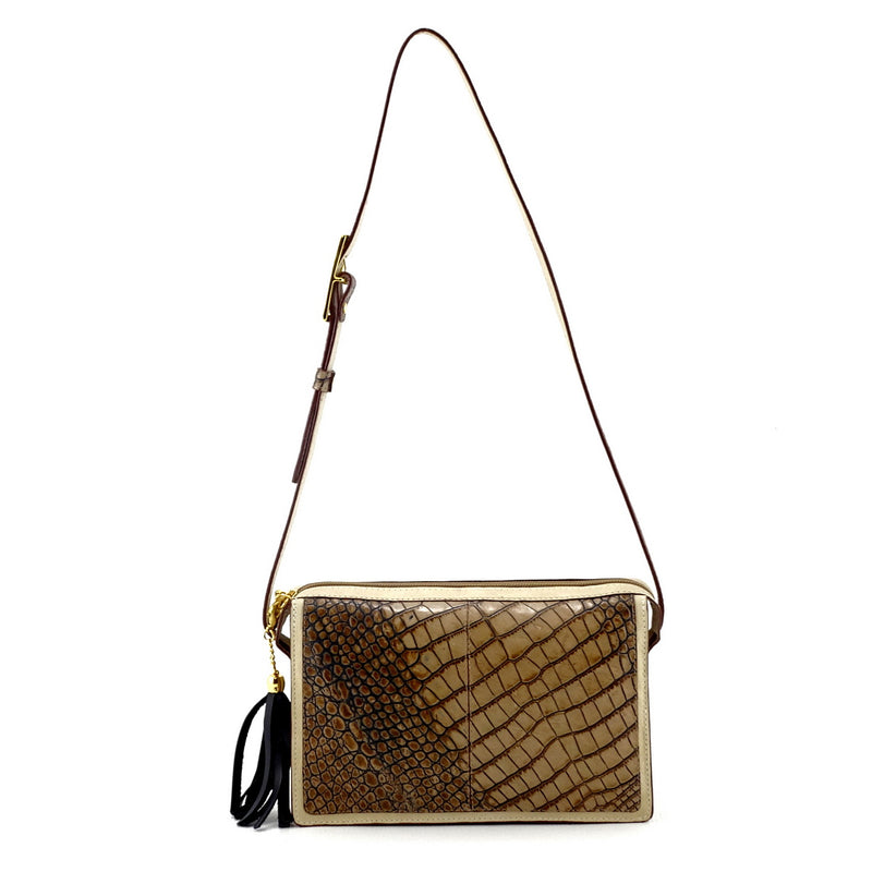 Riley Cross body bag off white with grey crocodile printed leather shoulder strap extended