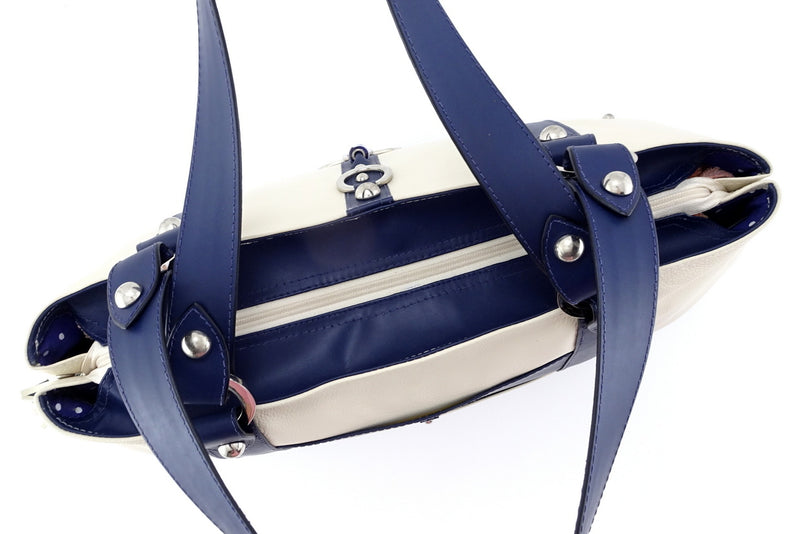 Felicity  Navy blue kangaroo cream leather stud detail large tote bag top zip