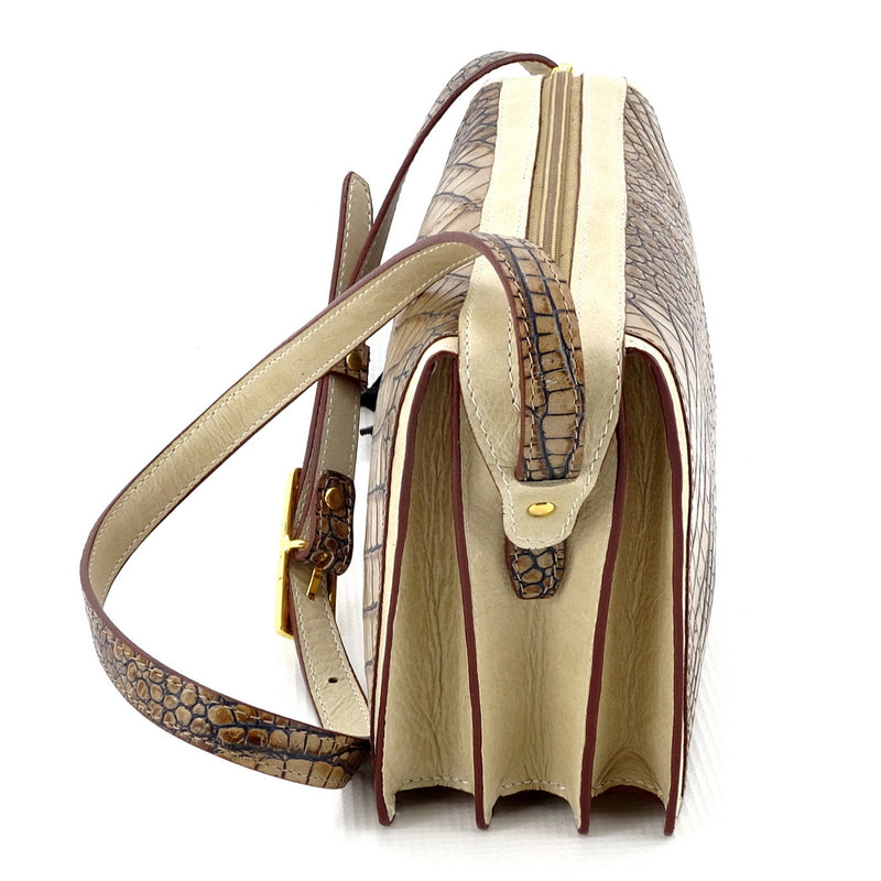Riley Cross body bag off white with grey crocodile printed leather view end 1